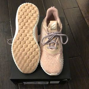 Adidas light pink and white sneakers
